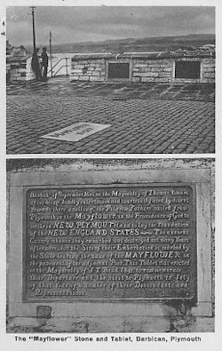 The old Mayflower memorial stone and plaque