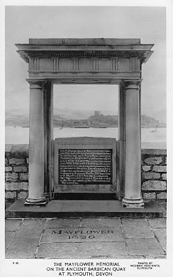 The portico over the Mayflower Plaque