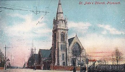 An early colour picture of St Jude's Church, Plymouth