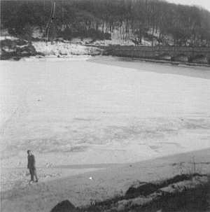Brian Bishop walking on the iced over Burrator Reservoir in 1963