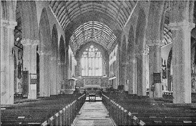 Looking towards the altar of the Minster Church of Saint Andrew, Plymouth.