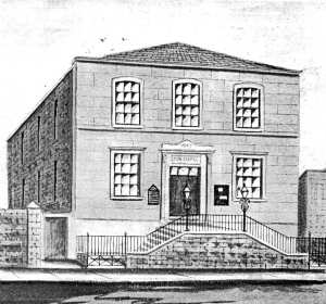 A drawing of the Zion Bible Christian Chapel in Catherine Street, Plymouth