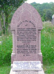 The gravestone in Ford Park Cemetery of Mr Charles Goodanew, Mrs Elizabeth Ann Goodanew, and Mr Thomas Henry Reynolds.  Photo courtesy of Mrs Sally Roberts.