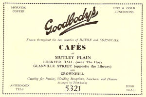 An advert for Goodbody's cafes