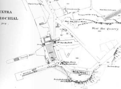 The position of the West Hoe Dock built by Thomas Gill and the canal can be gleaned from this map of around 1858.