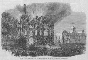 The fire at the New Patent Candle Works, Plymouth, as depicted by the Illustrated London News, 1866
