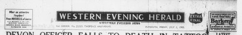 The banner of the Western Evening Herald newspaper in the 1960s.