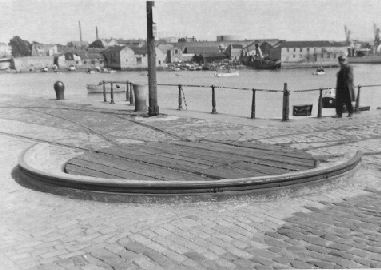 The now vanished turnplate at Sutton Harbour, between Sutton Wharf and North Quay.