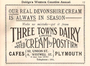 Advert for the Three Towns Dairy, Plymouth