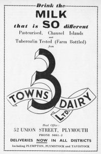 An advert for the Three Towns Dairy, Plymouth, from 1953.